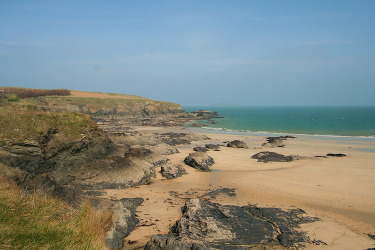 Sandy beach at Harlyn is a great base for holidays in Cornwall