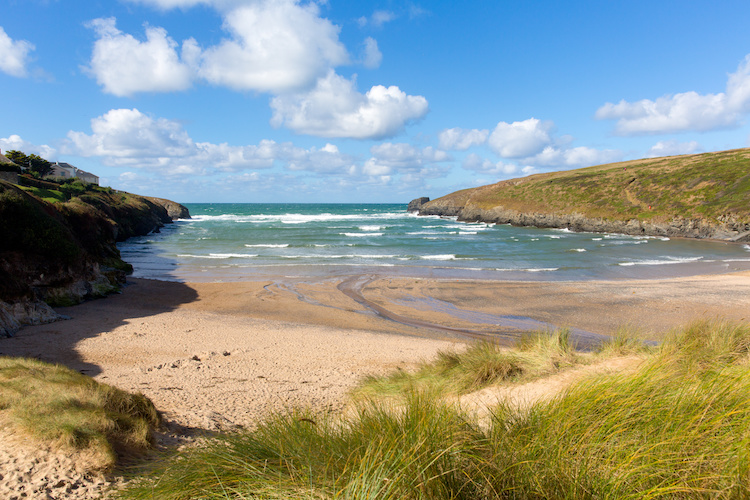 The beautiful sandy cove at Porthcothan Bay in Cornwall